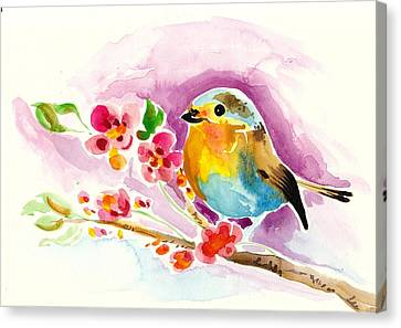 Robin In Flowers Canvas Print by Tiberiu Soos