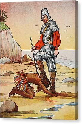 Robinson Crusoe And Friday Canvas Print by English School