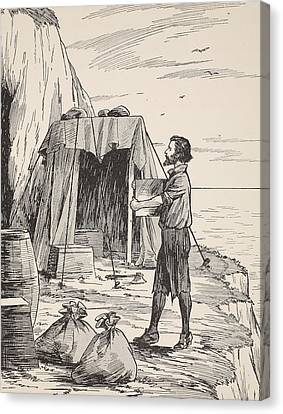 Robinson Crusoe Building His Shelter Canvas Print by English School