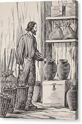 Robinson Crusoe In His Storeroom Canvas Print by English School