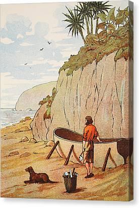 Robinson Crusoe's Canoe Canvas Print by English School