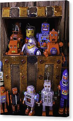 Robots In Treasure Box Canvas Print by Garry Gay