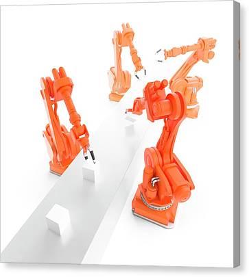 Robots On Production Line Canvas Print by Andrzej Wojcicki