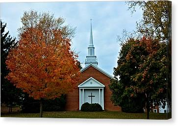 Rochester Church In The Fall Canvas Print by Richard Jenkins