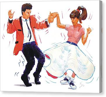 Rock And Roll Dancers Canvas Print by Mike Jory