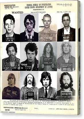 Rock And Roll's Most Wanted - Part II Canvas Print by Lee Dos Santos