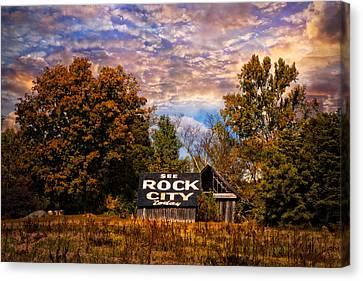 Rock City Barn Canvas Print by Debra and Dave Vanderlaan