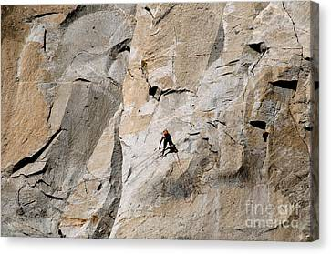 Rock Climber On El Capitan Canvas Print by Mark Newman