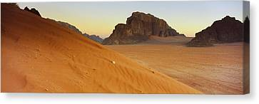 Rock Formations In A Desert, Jebel Canvas Print by Panoramic Images