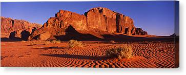 Rock Formations In A Desert, Jebel Um Canvas Print by Panoramic Images