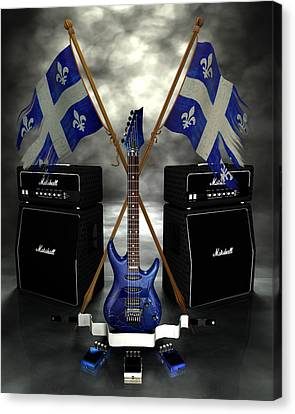 Rock N Roll Crest - Quebec Canvas Print by Frederico Borges