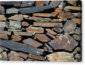 Canvas Print featuring the photograph Rock Wall Of Slate by Bill Gabbert