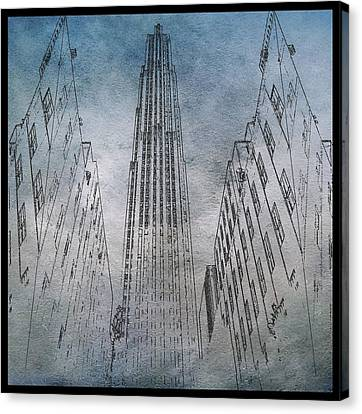 Ge Building Facade Sketch Canvas Print by Dan Sproul
