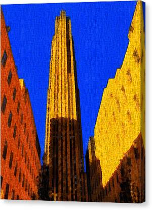 Rockefeller Plaza Pop Art Canvas Print by Dan Sproul