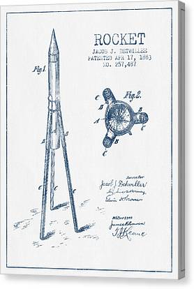 Rocket Patent Drawing From 1883 - Blue Ink Canvas Print by Aged Pixel