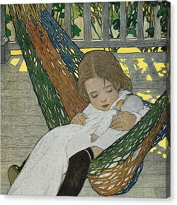 Rocking Baby Doll To Sleep Canvas Print by Jessie Willcox Smith