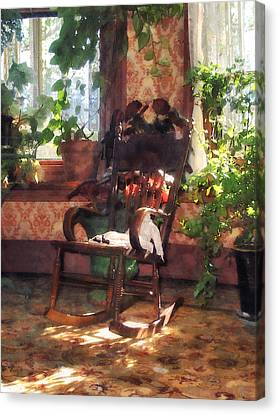 Rocking Chair In Victorian Parlor Canvas Print by Susan Savad
