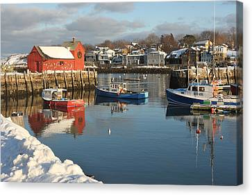 Rockport Harbor In Winter Canvas Print by Gail Maloney