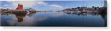 Rockport Harbor Panoramic Canvas Print by Joann Vitali