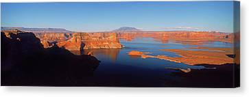 Rocks In A Lake, Lake Powell, Utah, Usa Canvas Print by Panoramic Images