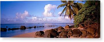 Rocks On The Beach, Anini Beach, Kauai Canvas Print by Panoramic Images