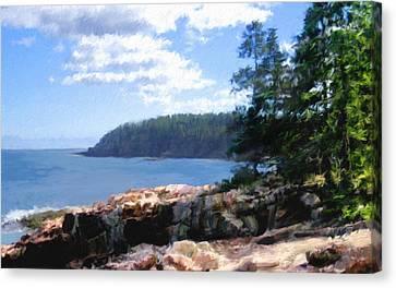 Rocky Coast .  Impressionistic  Canvas Print by Ann Powell