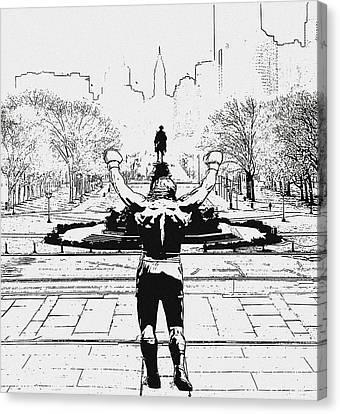 Rocky Is Philadelphia Canvas Print by Bill Cannon