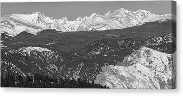 Rocky Mountain Continental Divide Winter Panorama Black White Canvas Print by James BO  Insogna