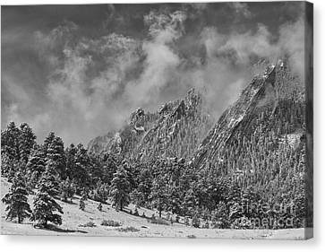 Rocky Mountain Dusting Of Snow Boulder Colorado Bw Canvas Print by James BO  Insogna