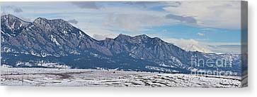 Rocky Mountains Flatirons And Longs Peak Panorama Boulder Canvas Print by James BO  Insogna