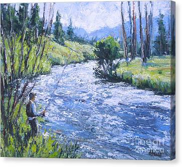 Rocky Mtn Fishing Canvas Print by Vickie Fears
