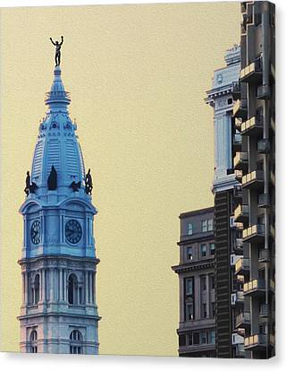 Rocky On Top Of City Hall Canvas Print by Bill Cannon