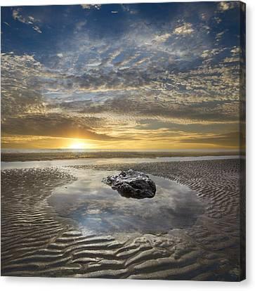 Rocky Pool At Dawn Canvas Print by Debra and Dave Vanderlaan