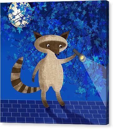 Rocky Raccoon  Canvas Print by Valerie Drake Lesiak