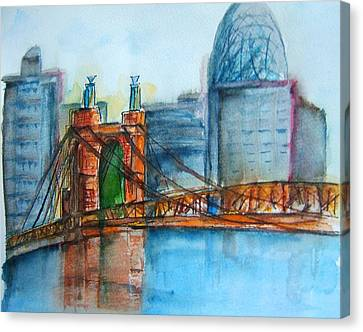 Roebling Bridge Near Dusk Canvas Print by Elaine Duras