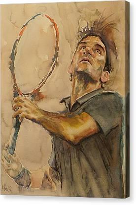 Roger Federer - Portrait 1 Canvas Print by Baresh Kebar - Kibar
