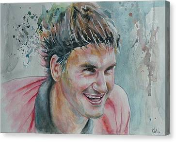 Roger Federer - Portrait 3 Canvas Print by Baresh Kebar - Kibar