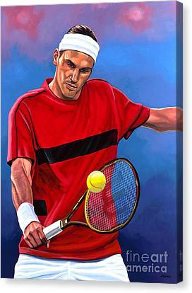 Roger Federer The Swiss Maestro Canvas Print by Paul Meijering