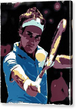 Roger Federer Portrait Art Canvas Print by Florian Rodarte