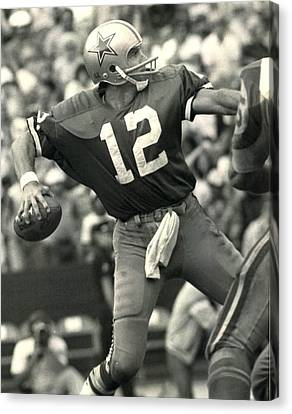 Roger Staubach Vintage Nfl Poster Canvas Print by Gianfranco Weiss