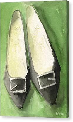 Roger Vivier Black Buckle Shoes Fashion Illustration Art Print Canvas Print by Beverly Brown Prints