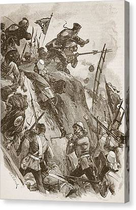 Rogers Got In, Helped Up By Lieutenant Canvas Print by William Heysham Overend
