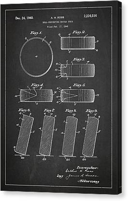 Roll Prevention Hockey Puck Patent Drawing From 1940 Canvas Print by Aged Pixel