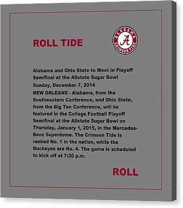 Roll Tide - Sugar Bowl Canvas Print by Val Arie
