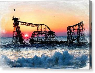 Roller Coaster After Sandy Canvas Print by Tony Rubino