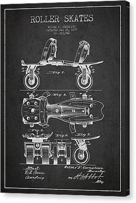 Roller Skate Patent Drawing From 1879 - Dark Canvas Print by Aged Pixel