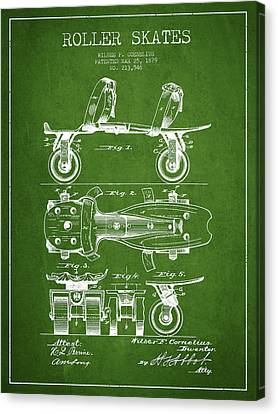 Roller Skate Patent Drawing From 1879 - Green Canvas Print by Aged Pixel