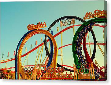 Rollercoaster At The Octoberfest In Munich Canvas Print by Sabine Jacobs