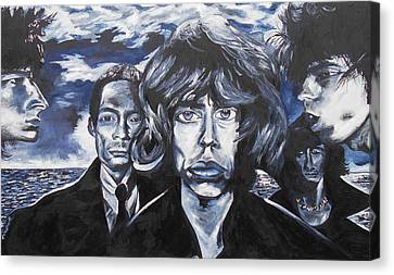 Mick Jagger Poster Canvas Print featuring the painting Rolling Stones Black And Blue  by Kevin J Cooper Artwork
