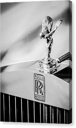 Rolls-royce Hood Ornament -782bw Canvas Print by Jill Reger